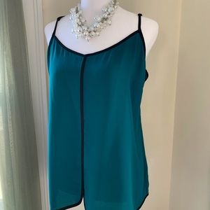 Limited green/teal cami blouse with black trim
